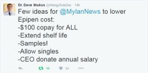 Dr Stukus Tweet on EpiPens